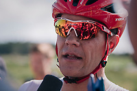 Jasper Stuyven (BEL/Trek-Segafredo) almost succeeded an impressive solo breakaway, but was caught in the final climb with 2 km to go<br /> <br /> Stage 14: Saint-Paul-Trois-Châteaux > Mende (187km)<br /> <br /> 105th Tour de France 2018<br /> ©kramon