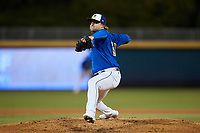 Durham Bulls relief pitcher Stetson Allie (28) in action against the Jacksonville Jumbo Shrimp at Durham Bulls Athletic Park on May 15, 2021 in Durham, North Carolina. (Brian Westerholt/Four Seam Images)