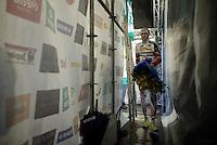 """Klaas Vantornout (BEL/Sunweb-Napoleon Games) """"back stage"""" after the podium ceremony<br /> <br /> Druivencross Overijse 2014"""