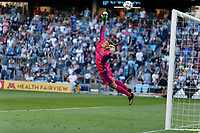 ST PAUL, MN - AUGUST 14: Jonathan Klinsmann #33 of the Los Angeles Galaxy goes for the ball as it heads over the goal during a game between Los Angeles Galaxy and Minnesota United FC at Allianz Field on August 14, 2021 in St Paul, Minnesota.