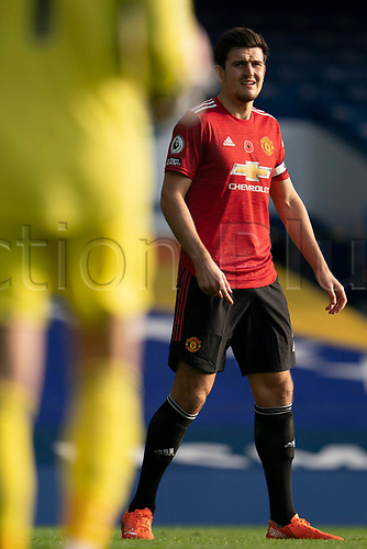 7th November 2020; Liverpool, England;  Manchester Uniteds Harry Maguire waits for the ball during the Premier League match between Everton and Manchester United at Goodison Park Stadium