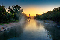 In this aerial image, steam rolls Off the icy waters at Barton Springs Pool as swimmers take a dip in the frigid waters for a winter's swim. Barton Springs Pool is an Austin icon and favorite public pool to swim in 365 days a year.