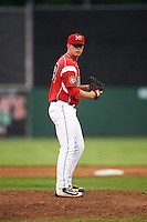Batavia Muckdogs relief pitcher Trenton Hill (39) during a game against the Brooklyn Cyclones on July 6, 2016 at Dwyer Stadium in Batavia, New York.  Batavia defeated Brooklyn 15-2.  (Mike Janes/Four Seam Images)