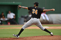Bristol Pirates starting pitcher Dan Urbina #24 delivers a pitch during a game against the Elizabethton Twins at Joe O'Brien Field June 30, 2014 in Elizabethton, Tennessee. The Twins defeated the Pirates 8-5 in game one of a double header. (Tony Farlow/Four Seam Images)