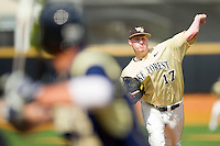 Wake Forest Demon Deacons relief pitcher John McLeod #17 in action against the Georgia Tech Yellow Jackets at Wake Forest Baseball Park on April 15, 2012 in Winston-Salem, North Carolina.  The Demon Deacons defeated the Yellow Jackets 11-3.  (Brian Westerholt/Four Seam Images)