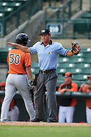 Umpire Derek Gonzalez  during an instructional league game between the Minnesota Twins and Baltimore Orioles on September 22, 2015 at Ed Smith Stadium in Sarasota, Florida.  (Mike Janes/Four Seam Images)