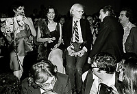 Minelli Jagger Warhol6899.JPG<br /> New York, NY 1978 FILE PHOTO<br /> Liza Minelli Bianca Jagger Andy Warhol<br /> Studio 54<br /> Digital photo by Adam Scull-PHOTOlink.net<br /> ONE TIME REPRODUCTION RIGHTS ONLY<br /> NO WEBSITE USE WITHOUT AGREEMENT<br /> 718-487-4334-OFFICE  718-374-3733-FAX