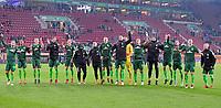 17.03.2018,  Football 1.Liga 2017/2018, 27. match day, FC Augsburg - SV Werder Bremen, in WWK-Arena Augsburg, celebration  and Laola Welle der Bremer. *** Local Caption *** © pixathlon<br /> <br /> +++ NED out !!! +++<br /> Contact: +49-40-22 63 02 60 , info@pixathlon.de