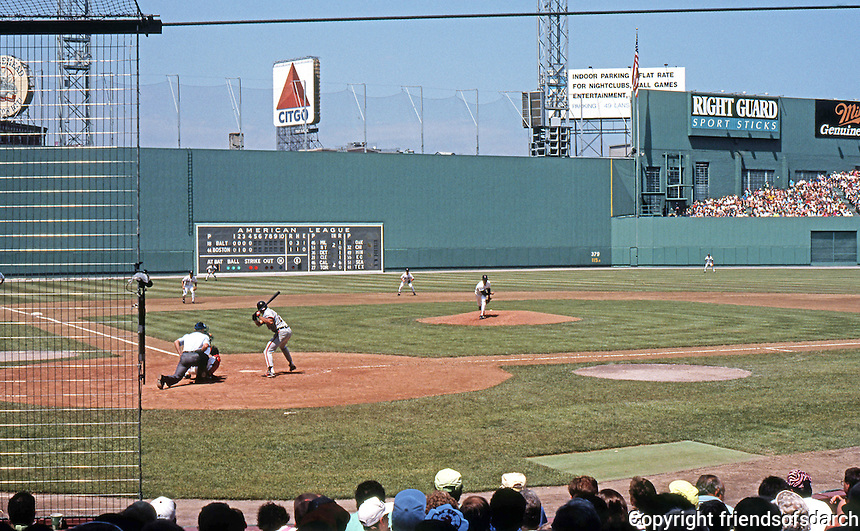 Ballparks: Boston Fenway Park. Action from behind home plate.
