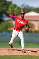 Philadelphia Phillies pitcher Edgar Garcia (83) during an instructional league game against the Toronto Blue Jays on October 3, 2015 at the Carpenter Complex in Clearwater, Florida.  (Mike Janes/Four Seam Images)