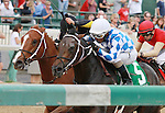 """September 06, 2014:   Lucky Player and Ricardo Santana Jr. win the 33rd running of the Iroquois Grade 3 $100,000 """"Win and your in Juvenile Division"""" Breeders Cup prep race for owner Jerry Durant and trainer Steve Asmussen.  Candice Chavez/ESW/CSM"""