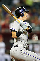 Colorado Rockies outfielder Tyler Colvin #21 during a National League regular season game against the Arizona Diamondbacks at Chase Field on October 2, 2012 in Phoenix, Arizona. Arizona defeated Colorado 5-3. (Mike Janes/Four Seam Images)