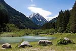 Austria, Tyrol, Stubai Valley, river Ruetz forming small lake Klausaeuele, background Stubai Alps