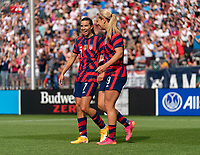 EAST HARTFORD, CT - JULY 5: Lindsey Horan #9 of the USWNT celebrates her goal with Tobin Heath #7 during a game between Mexico and USWNT at Rentschler Field on July 5, 2021 in East Hartford, Connecticut.