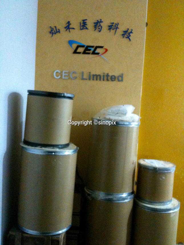 Barrels of MDPV, ready to be exported, are seen in the entrance lobby of CEC Limited, the company in China that manufactures the legal high, Shanghai, China, 08 April 2010.