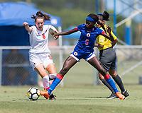 Bradenton, FL - Sunday, June 12, 2018: Caitlin Shaw, Estericove Joseph prior to a U-17 Women's Championship 3rd place match between Canada and Haiti at IMG Academy. Canada defeated Haiti 2-1.