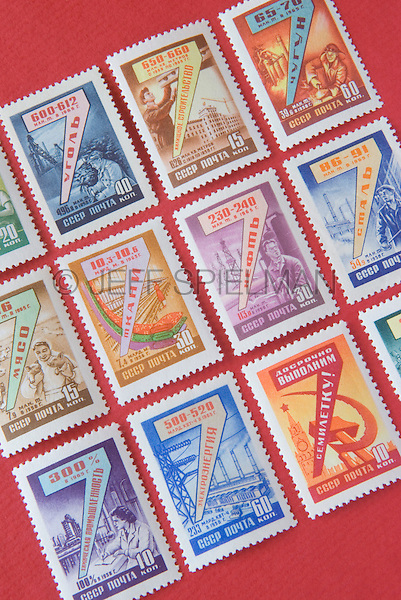 USSR Postage Stamps Issued by the Former Soviet Union in the Year 1958<br /> <br /> AVAILABLE FOR COMMERCIAL OR EDITORIAL LICENSING FROM PLAINPICTURE.COM.  Please go to www.plainpicture.com and search for image # p569m791805.