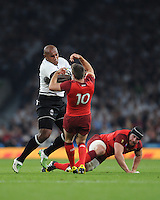 Nemani Nadolo of Fiji charges into George Ford of England during Match 1 of the Rugby World Cup 2015 between England and Fiji - 18/09/2015 - Twickenham Stadium, London <br /> Mandatory Credit: Rob Munro/Stewart Communications