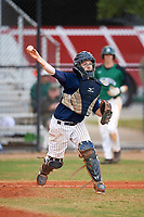 Southern Maine Huskies catcher Kip Richard (31) throws to first base for the out during a game against the Dartmouth Big Green on March 23, 2017 at Lake Myrtle Park in Auburndale, Florida.  Dartmouth defeated Southern Maine 9-1.  (Mike Janes/Four Seam Images)