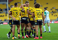 The Hurricanes celebrate Salesi Rayasi's try during the Super Rugby Aotearoa match between the Hurricanes and Chiefs at Sky Stadium in Wellington, New Zealand on Saturday, 20 March 2020. Photo: Dave Lintott / lintottphoto.co.nz