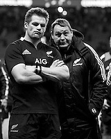 Steve Hansen, New Zealand Coach, and Richie McCaw of New Zealand look dejected after during the QBE Autumn International match between England and New Zealand at Twickenham on Saturday 01 December 2012 (Photo by Rob Munro)