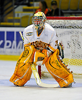 14 November 2008: University of Vermont Catamount goaltender Rob Madore, a Freshman from Venetia, PA, warms up prior to his start against the Northeastern University Huskies at Gutterson Fieldhouse in Burlington, Vermont. The Catamounts fell to the Huskies 5-3...Mandatory Photo Credit: Ed Wolfstein Photo