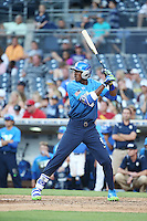 Je'Von Carrier-Ward (18) of the West Team bats against the East Team during the Perfect Game All American Classic at Petco Park on August 14, 2016 in San Diego, California. West Team defeated the East Team, 13-0. (Larry Goren/Four Seam Images)