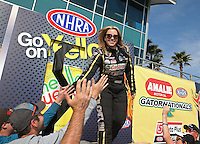 Mar. 17, 2013; Gainesville, FL, USA; NHRA top fuel dragster driver Brittany Force during the Gatornationals at Auto-Plus Raceway at Gainesville. Mandatory Credit: Mark J. Rebilas-