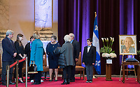 Members of Lise Payette's family are greeted by members of the public during a memorial service in her honour at City Hall in Montreal, Saturday, October 20, 2018. THE CANADIAN PRESS/Graham Hughes
