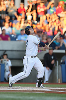 Josh Anderson (28) of the Hillsboro Hops bats during a game against the Boise Hawks at Ron Tonkin Field on August 21, 2015 in Hillsboro, Oregon. Boise defeated Hillsboro, 7-1. (Larry Goren/Four Seam Images)