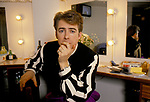 Jonathan Ross British TV Radio presenter in dressing room circa 1985 1980s UK