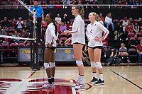 STANFORD, CA - November 15, 2017: Tami Alade, Merete Lutz, Kathryn Plummer at Maples Pavilion. The Stanford Cardinal defeated USC 3-0 to claim the Pac-12 conference title.