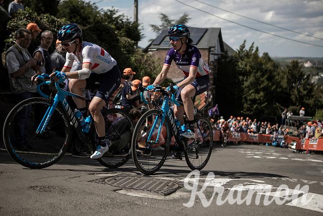 Małgorzata Jasinska (POL/Movistar) and Aude Biannic (FRA/Movistar) up the infamous Mur de Huy. <br /> <br /> 22nd la Flèche Wallonne Féminin 2019 (1.WWT)<br /> 1 Day Race: Huy – Huy 118,5km<br /> women's elite race<br /> <br /> ©kramon