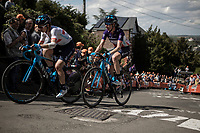 Małgorzata Jasinska (POL/Movistar) and Aude Biannic (FRA/Movistar) up the infamous Mur de Huy. <br /> <br /> 22nd la Flèche Wallonne Féminin 2019 (1.WWT)<br /> 1 Day Race: Huy – Huy 118,5km<br /> women's elite race<br /> <br /> ©kramon