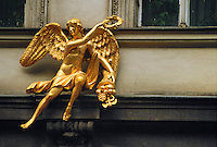 """- Prague, art-deco decoration on facade of a palace in Old Downtown district (""""Stare Mesto"""")....- Praga, decorazione art-deco sulla facciata di un palazzo nel quartiere della Città Vecchia (""""Stare Mesto"""")"""