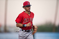 AZL Angels shortstop Jeremiah Jackson (8) jogs off the field between innings of an Arizona League game against the AZL Diamondbacks at Tempe Diablo Stadium on June 27, 2018 in Tempe, Arizona. AZL Angels defeated the AZL Diamondbacks 5-3. (Zachary Lucy/Four Seam Images)