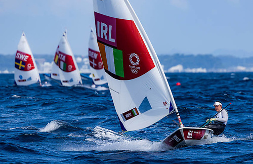 Annalise Murphy is out in front during race 7 of the Laser Radial competition at Enoshima earlier today