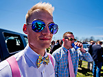LEXINGTON, KENTUCKY - APRIL 08: A fan shows off his bow tie on The Hill on Blue Grass Stakes Day at Keeneland Race Course on April 8, 2017 in Lexington, Kentucky. (Photo by Scott Serio/Eclipse Sportswire/Getty Images)