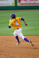 LSU Tigers outfielder Andrew Stevenson (6) runs to second base during the Southeastern Conference baseball game against the Texas A&M Aggies on April 25, 2015 at Alex Box Stadium in Baton Rouge, Louisiana. Texas A&M defeated LSU 6-2. (Andrew Woolley/Four Seam Images)