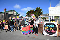 2020 09 26 Protests outside  outside the Penally Army Training Camp, near Tenby in west Wales, UK