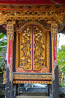 Bali, Indonesia.  Doors to a Shrine to an Ancestor inside a Hindu Balinese Village Family Compound.