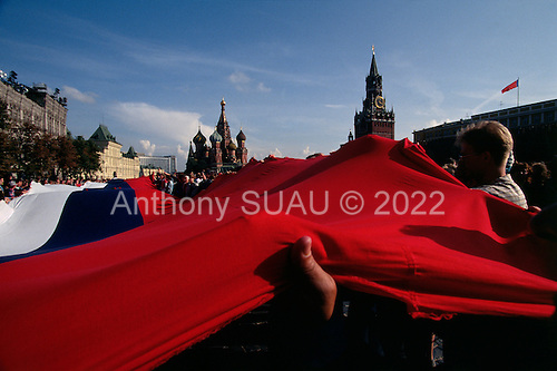 Moscow, Soviet Union<br /> August 23, 1991<br /> <br /> A Russian flag is draped across Red Square following Soviet coup d'état attempt (August 19-21, 1991), also known as the August Putsch or August Coup. A small group of the Soviet government officials briefly deposed president Mikhail Gorbachev in an attempted to take control of the country. The coup leaders were hard-line members of the Communist Party (CPSU) who felt that Gorbachev's reforms had gone too far in dispersing the central government's power to the republics - better known as perestroika. The coup collapsed in three days, and Gorbachev returned to power, crushing the Soviet leader's hopes that the union could be held together in a decentralized form.