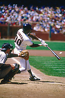SAN FRANCISCO, CA - Jeffrey Leonard of the San Francisco Giants in action against the San Diego Padres during a game at Candlestick Park in San Francisco, California in 1987. Photo by Brad Mangin