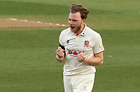 Sam Cook of Essex celebrates taking the wicket of Daryl Mitchell during Essex CCC vs Worcestershire CCC, LV Insurance County Championship Group 1 Cricket at The Cloudfm County Ground on 9th April 2021