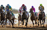 ARCADIA, CA - OCTOBER 01: Noted and Quoted #2 (center), ridden by Rafael Bejarano battles for position with American Cleopatra #5, ridden by Stewart Elliot, With Honors #1, ridden by Flavien Prat in route to winning the Chandelier Stakes at Santa Anita Park on October 01, 2016 in Arcadia, California. (Photo by Alex Evers/Eclipse Sportswire/Getty Images)
