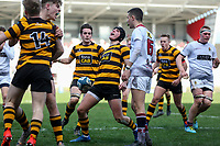 Tuesday 3rd March 2020 | RSA vs RBAI<br /> <br /> RBAI fullback Ronan Boyle celebrates after he scored during the Ulster Schools' Cup Semi-Final between Royal School Armagh and RBAI at Kingspan Stadium, Ravenhill Park, Belfast, Northern Ireland. Photo by John Dickson / DICKSONDIGITAL