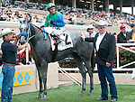 August 8, 2011.Creative Cause ridden by Rafael Bejarano in the winner's circle with trainer Mike Harrington after winning the Best Pal Stakes at the Del Mar Thoroughbred Club, Del Mar, CA