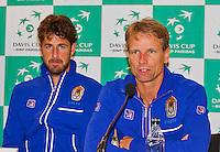 September 10, 2014,Netherlands, Amsterdam, Ziggo Dome, Davis Cup Netherlands-Croatia, Press conference, Dutch team l.t.r:  Robin Haase, captain Jan Siemerink, <br /> Photo: Tennisimages/Henk Koster