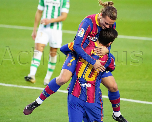 7th November 2020; Camp Nou, Barcelona, Catalonia, Spain; La Liga Football, Barcelona versus Real Betis;  Leo Messi and Griezmann celebration after scoring his goal for 2-1 in the 49th minute