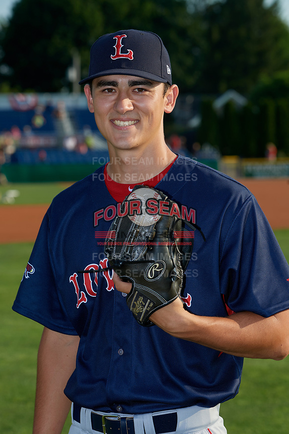 Lowell Spinners pitcher Noah Song (46) poses for a photo before a NY-Penn League game against the Batavia Muckdogs on July 10, 2019 at Dwyer Stadium in Batavia, New York.  Batavia defeated Lowell 8-6.  (Mike Janes/Four Seam Images)